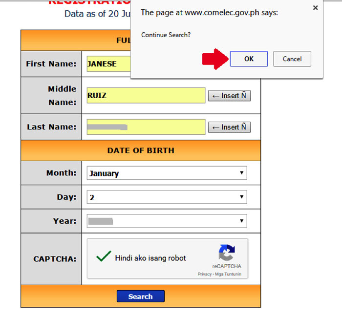 How to verify voters status online step 6