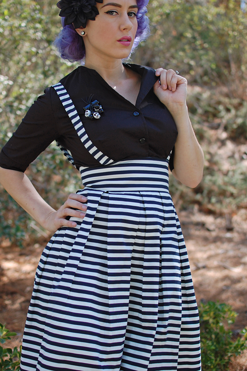 Iconic by UV Navy & White Striped Jitterbug Suspender Skirt