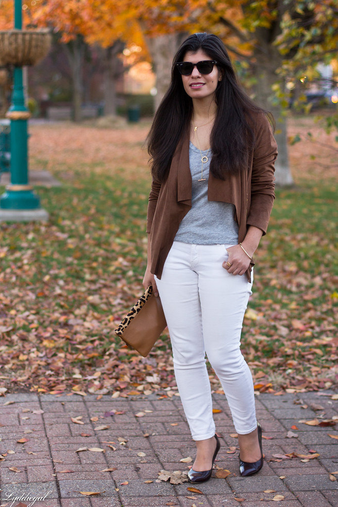 white denim, grey tee, draped jacket, leopard clutch-2.jpg