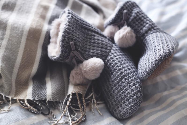 White Company Knit Pompom Boots