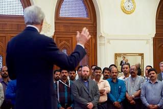 Secretary Kerry Addresses Employees Working at the U.S. Embassy Muscat