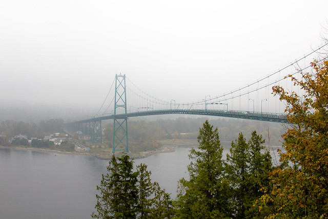 Lions Gate Bridge in the mist