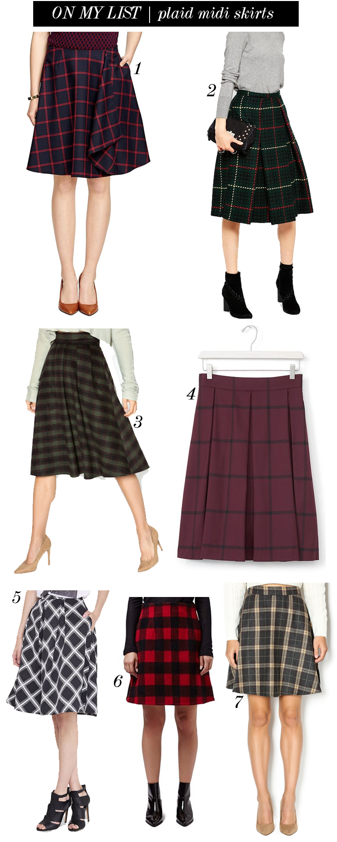 on my list plaid midi skirts