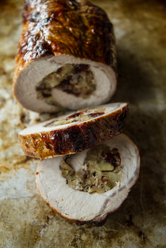 Bourbon Apple Cider Stuffed Roast Pork Loin with Sweet Potatoes