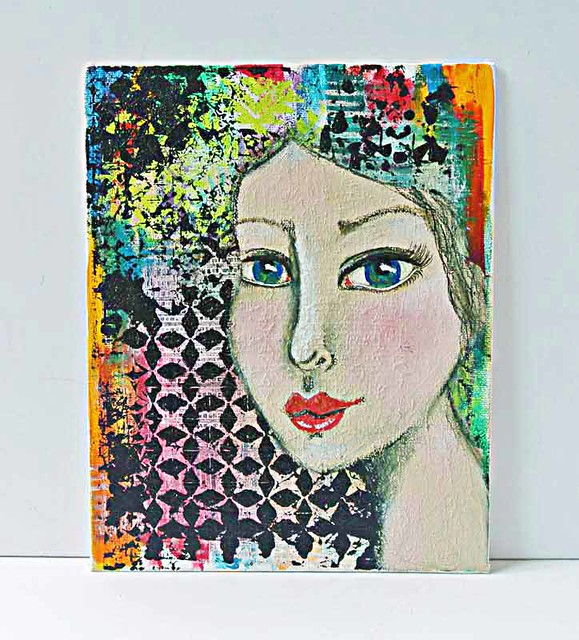 Colourful-mixed-media-girl-on-canvas