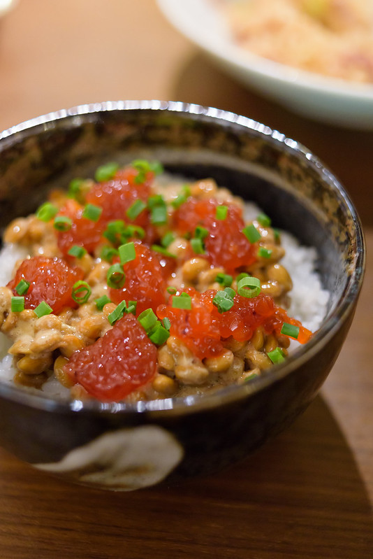 salted salmon roe & fermented soybeans on the rice