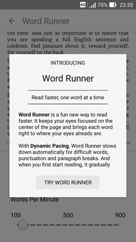 Kindle・Word Runner