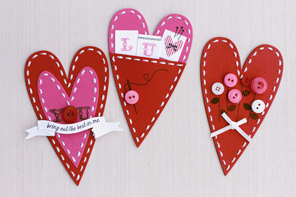 Sewing Themed Valentines Using Primitive Heart Stitching Dies