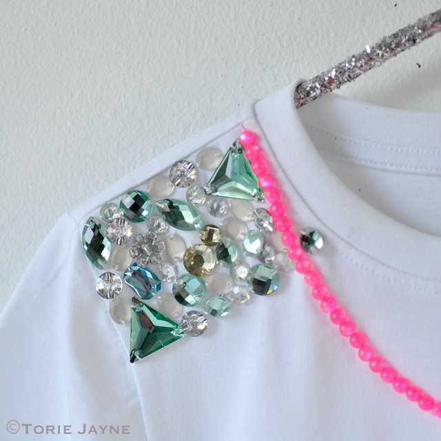 Crystal shoulder handmade tee