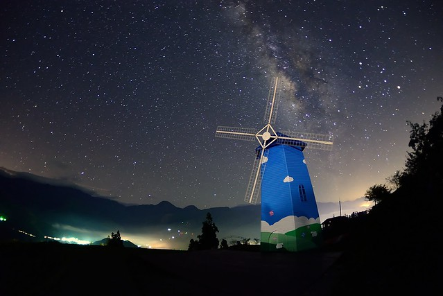 Windmill at starry night
