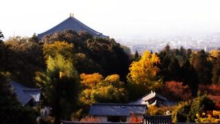 Image of Todaiji Temple. 二月堂 東大寺 大仏殿 nara todaiji nigatsudo temple landscape japan autumn