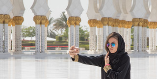 Image of Sheikh Zayed Grand Mosque near Abu Dhabi. sheikh zayed grand mosque abu dhabi middle east uae selfie woman beautiful