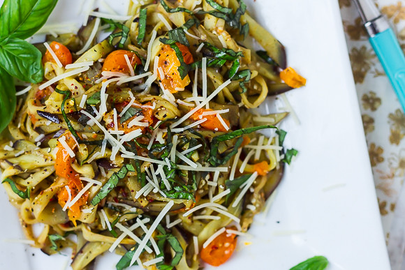Eggplant Noodles with Tomatoes and Basil