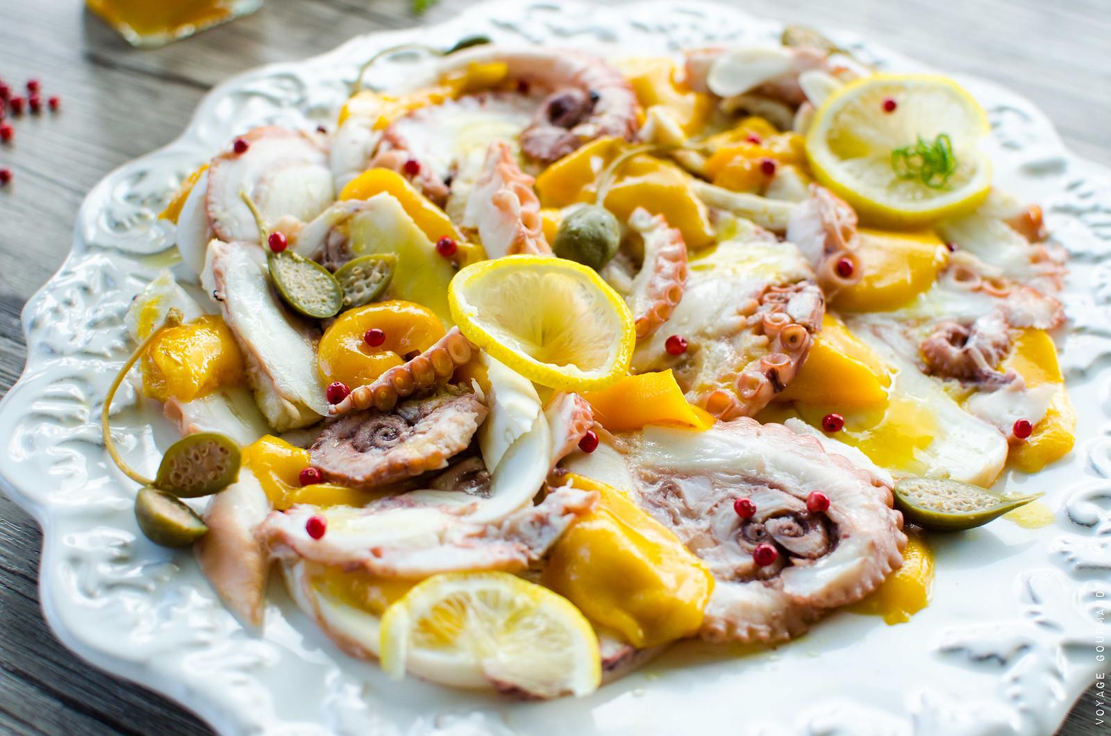 Salade folle de poulpe à la mangue / avec Edelices