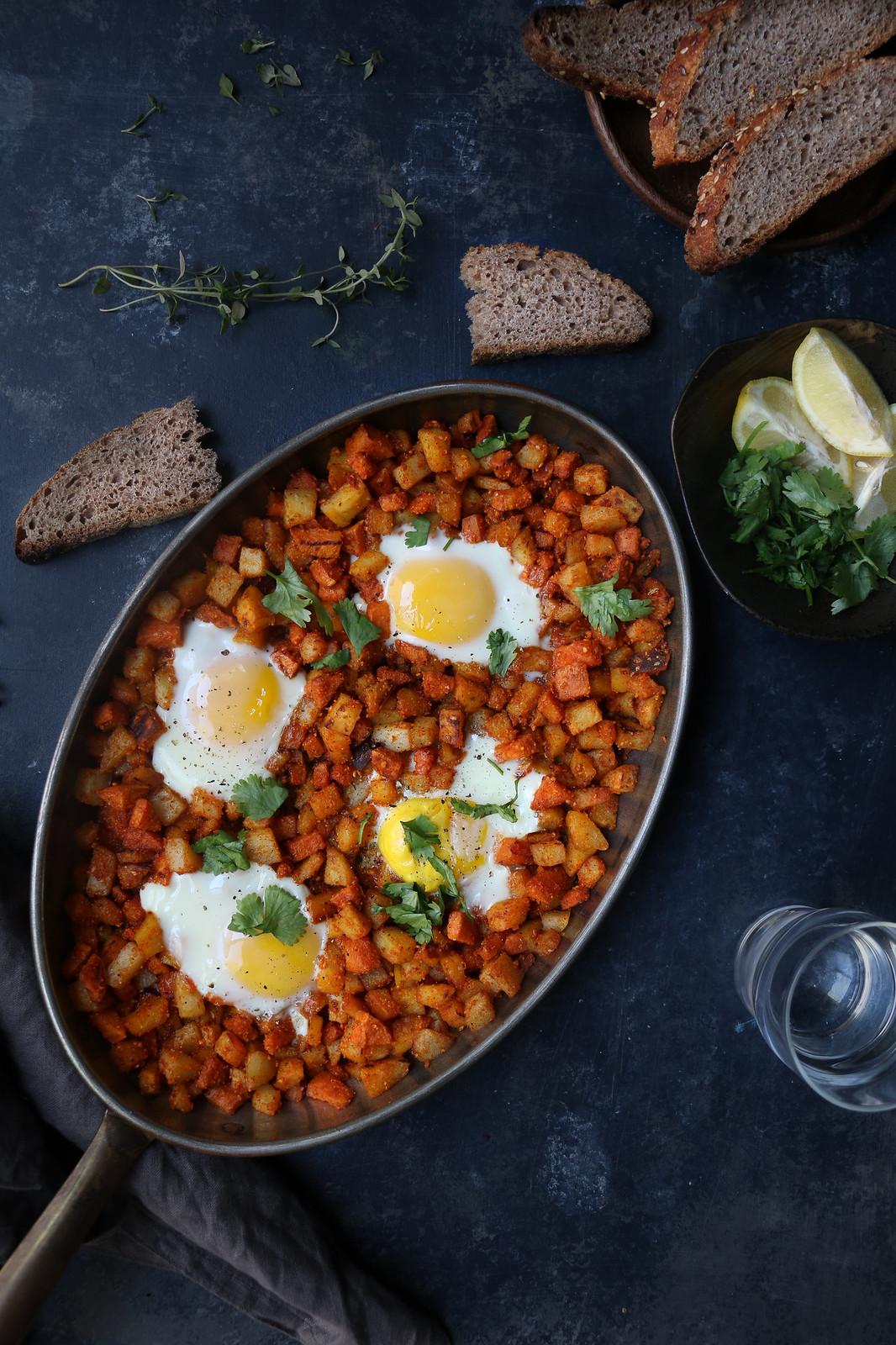 Garlic-Coconut Chutney Spiced Trio Hash with Eggs