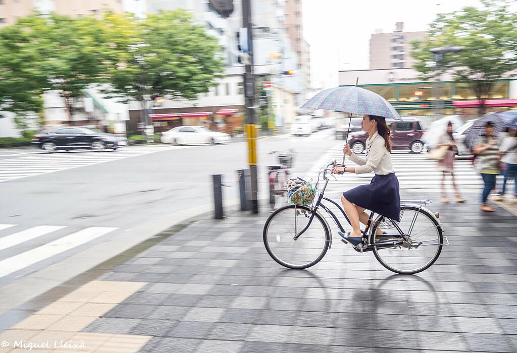 Ciclista amb pluja ... a Kyoto