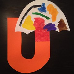 "Look!  We have a ""U"". #kindyart"