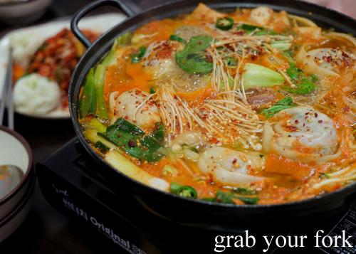 Korean jeongol dumpling stew at O Se Yo, Lidcombe