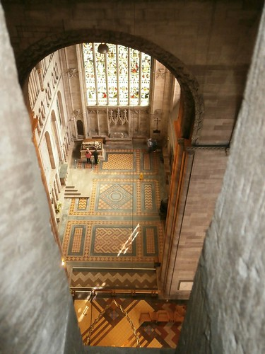 09 south transept from lantern level, central tower, Hereford Cathedral 09-14
