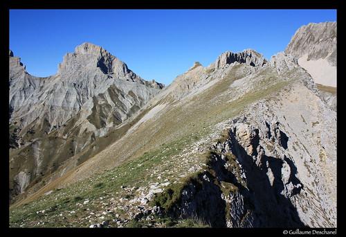 Sur la Crête du Vallon, notre objectif au loin