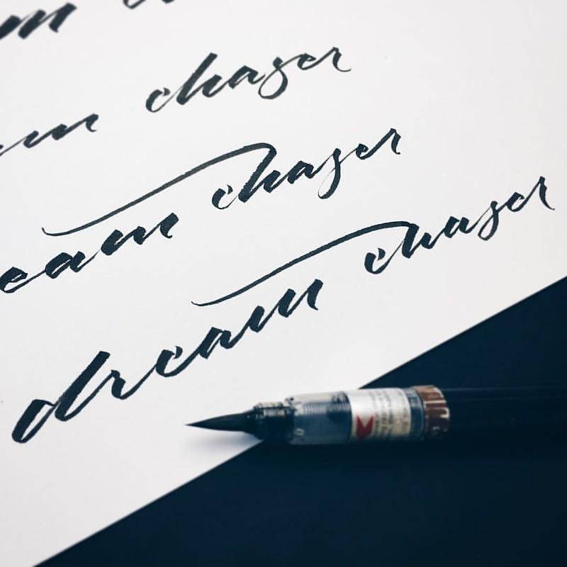 Dream chaser. Sketches for an idea...   #makedaily #calligraphy #typographyinspired #brushpen  #brushscript #ink #lettering #pentel #handstyles #thedailytype #caligrafia #graffiti #showusyourtype #graphicdesign #goodtype #typedaily #typespire #handmadefon