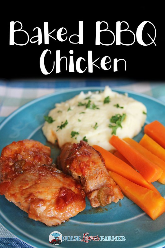 Baked BBQ Chicken. Chicken thighs baked in a sweet BBQ sauce with crunchy celery bits in the oven is a perfect meal all year round!