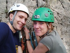 Helen & Greg at a belay stance Image