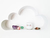 Egg cup with red heart cheeks hanging out on the cloud shelf with nature's bling
