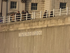 River Thames from the South Bank in London - Waterloo Bridge - sign