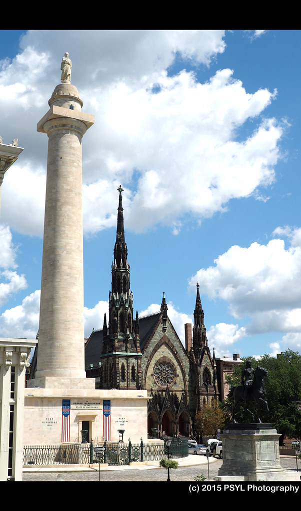 Washington Monument and church