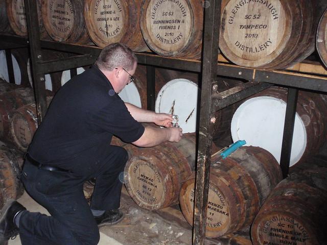 Taking samples at Glenglassaugh distillery
