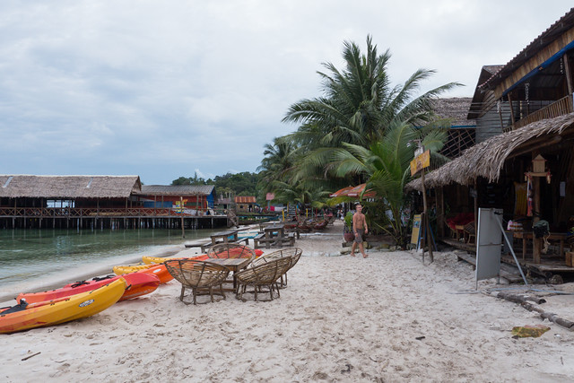 Koh Rong Island main beach strip with bars and restaurants in Cambodia Budget Guide to Cambodia | Tips on how to do Cambodia on the cheap | How to travel Cambodia cheaply | Cambodia on a budget | 2 weeks in Cambodia