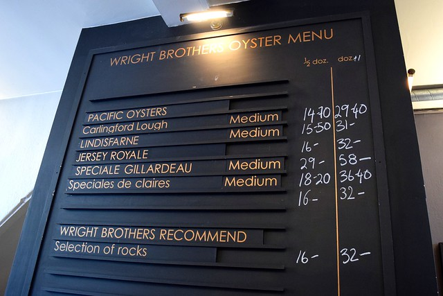 Oyster Menu at Wright Brothers, Borough Market | www.rachelphipps.com @rachelphipps