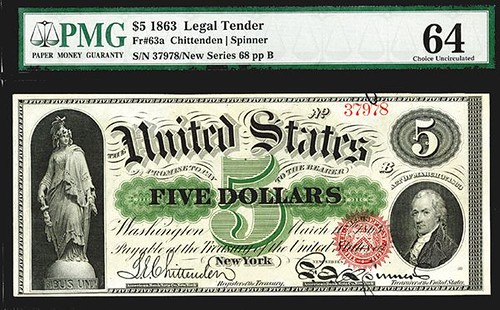Lot 1280 $5 1863 Legal Tender note