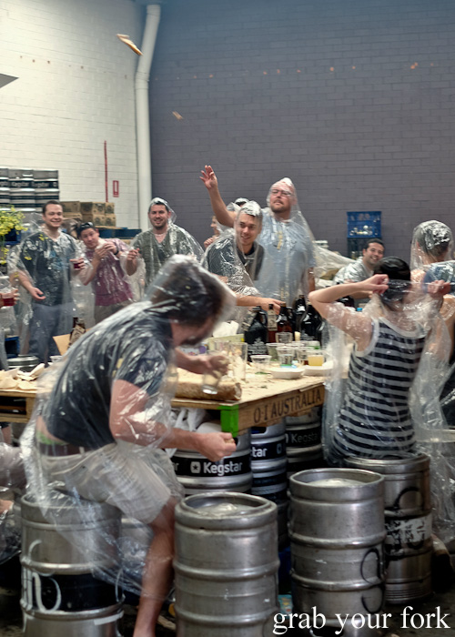 Sourdough missiles during the food fight at the Feral Party by Pinbone at Young Henrys for Good Food Month 2015