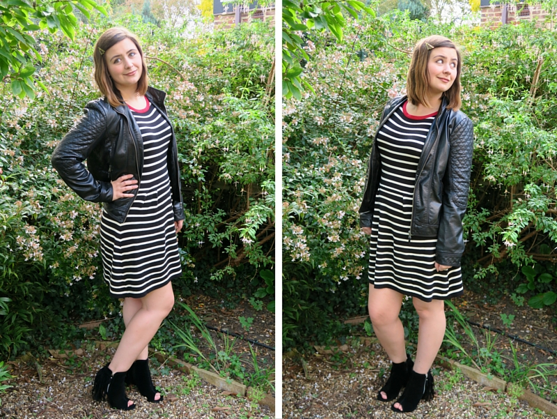 UK fashion blogger laurenella striped knitted dress fringed boots sugar hill boutique shoezone