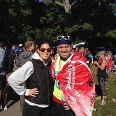 With Mischa at the finish.