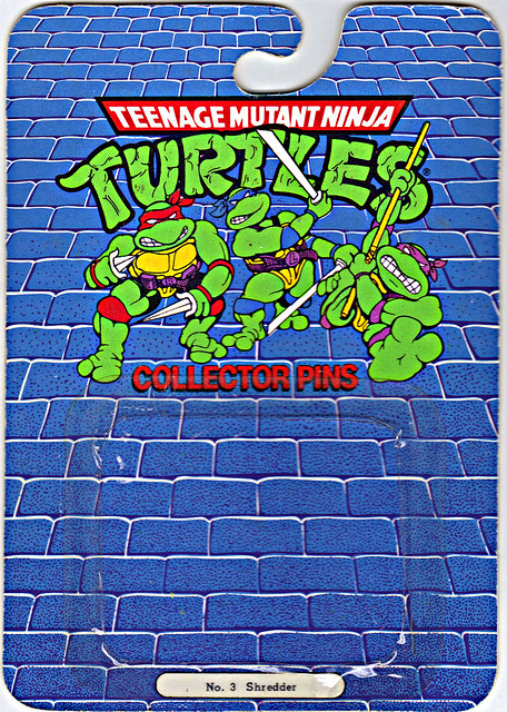 "ACE NOVELTY :: ""TEENAGE MUTANT NINJA TURTLES"" COLLECTOR PINS - No.3 'Shredder' // Card backer i (( 1989 ))"