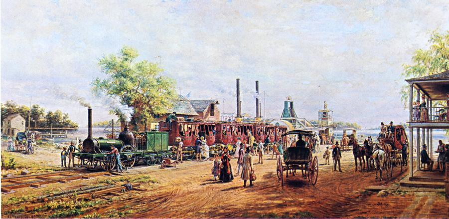 The Camden and Amboy Railroad with the Engine 'Planet' in 1834 by Edward Lamson Henry - 1904