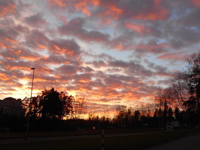 Iltaruskoa ennätyslämpimässä Föhntuulessa, 2.11.2015 Espoo Leppäsilta