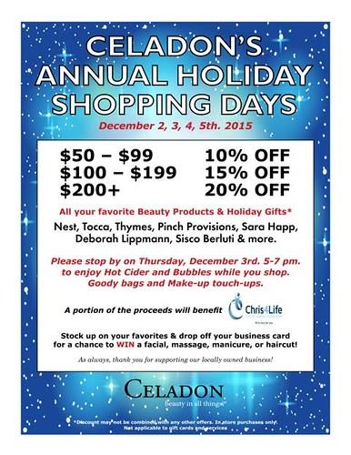 Celadon Spa & Salon Annual Holiday Shopping Event