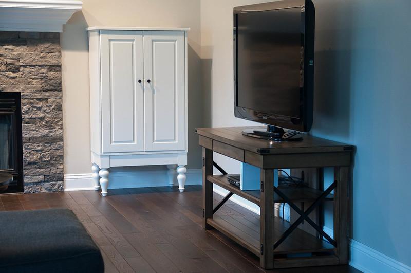 Hardwood Floor AirStone Fireplace Game Cabinet