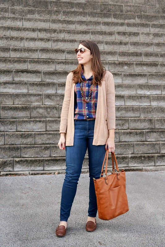 Old Navy plaid shirt, tan camel cardigan, Loft jeans, Land's End penny loafers, casual Friday outfit