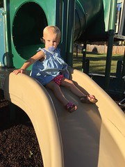 A serious looking Madeleine on the slide