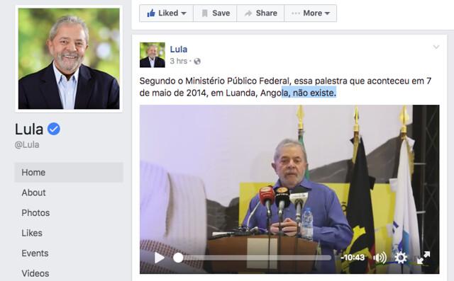 Palestra de Lula em Luanda, Angola, publicada na página do Instituto Lula - Créditos: Reprodução/Facebook