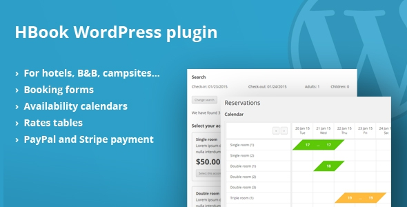 HBook v1.5.2 - Hotel booking system - WordPress Plugin
