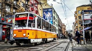 Sofia streetcar  #streetphotography #street #streetcrossing #streetcar #bulgaria #yellow #cityscape #travelmemo #moving #Sofia #cobblestone