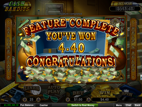 free Cash Bandits slot bonus game win
