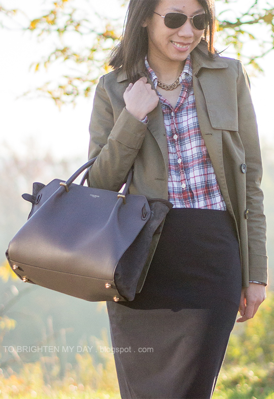 green swing trench jacket, plaid shirt, navy pencil skirt