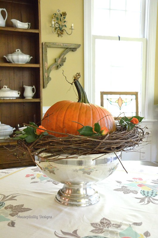 Pumpkin Centerpiece in Silver Trophy Bowl - Housepitality Designs